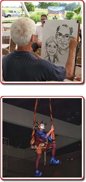 Caricature Artist and trapeze performer